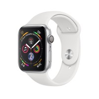 Apple Watch Series 4 GPS, 44mm Silver Aluminum Case With White Sport Band